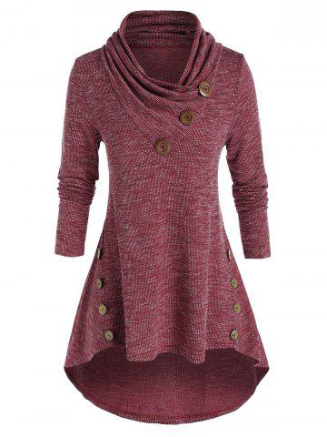 Plus Size High Low Shawl Collar Knitted T Shirt