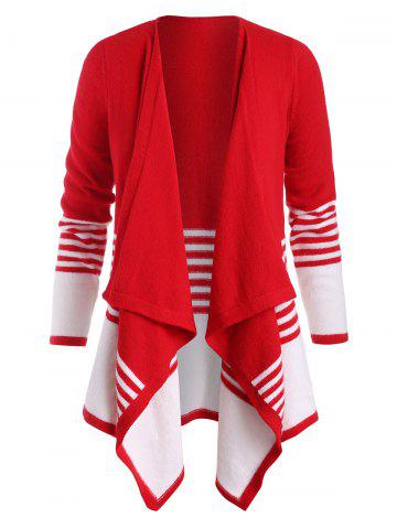 Plus Size Striped Bicolor Draped Open Front Cardigan - RED - 1X