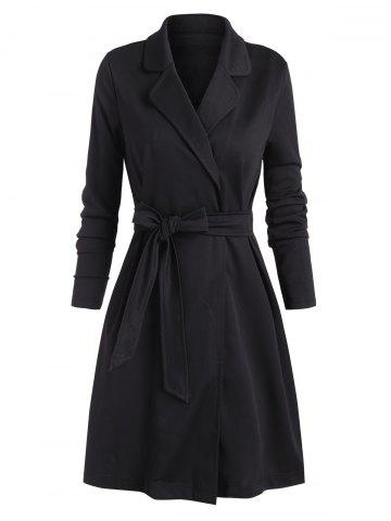 Tie Waist Lapel Solid Long Coat - BLACK - XL