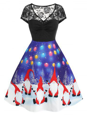 Plus Size Santa Print Lace V Neck Dress