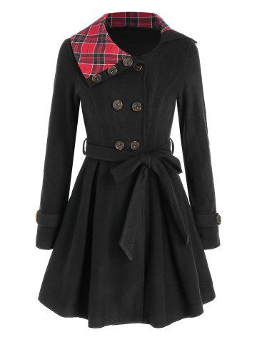 Plaid Crossover Double Breasted Skirted Coat - BLACK - 3XL