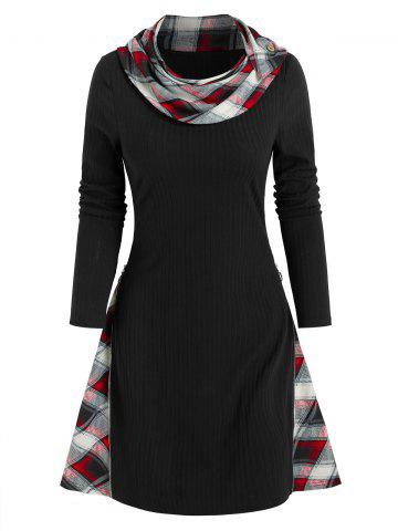 Plaid Insert Ribbed Convertible Sweater Dress
