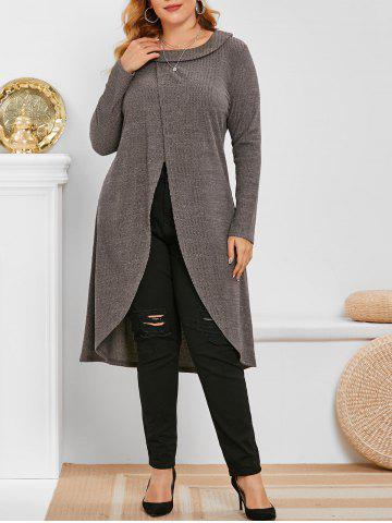 Tricot Long Chiné Superposé Grande Taille - DARK GRAY - 1X