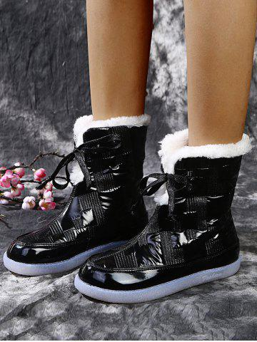 Outdoor Quilted Fleece Snow Boots - BLACK - EU 39