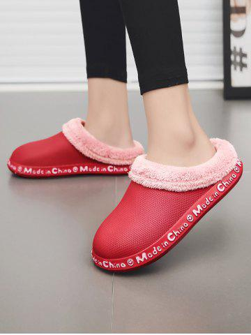 Winter Letter Pattern Plush Slippers - RED - EU 40