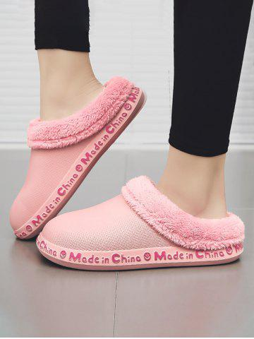 Winter Letter Pattern Plush Slippers - PINK - EU 38