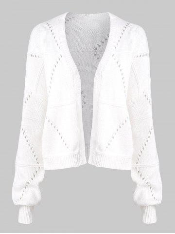 Open Front Pointelle Knit Cardigan Sólido - WHITE - XL