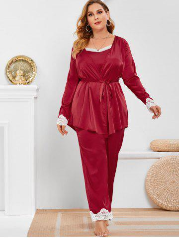Plus Size Satin Lace Trim Three Piece Pajamas Set