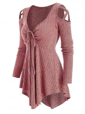 Cold Shoulder Front Drawstring Ribbed Long Sleeve Knitwear - PINK ROSE - L
