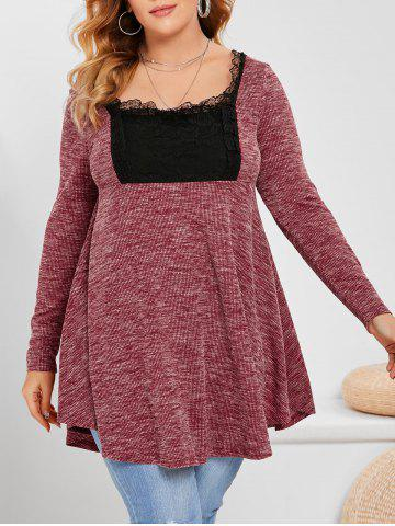Plus Size Heathered Lace Insert Knitwear - RED WINE - L