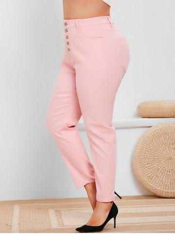 Plus Size Button Fly High Rise Colored Jeans - LIGHT PINK - 1X