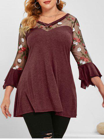 Flare Sleeve Mesh Panel Floral Embroidered Plus Size Top - RED - 3X
