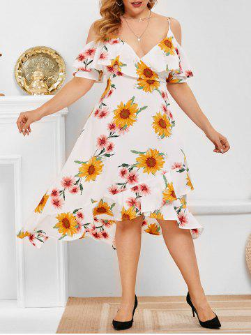 Plus Size Flower Print Cold Shoulder High Low Dress - WHITE - L