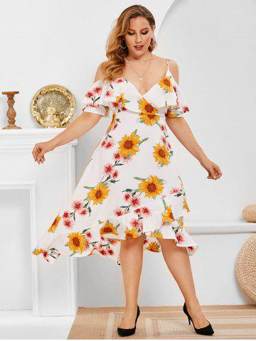 Plus Size Flower Print Cold Shoulder High Low Dress