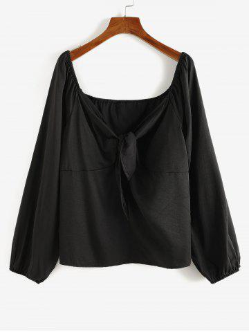 Plus Size Raglan Sleeve Tied Plunging Blouse
