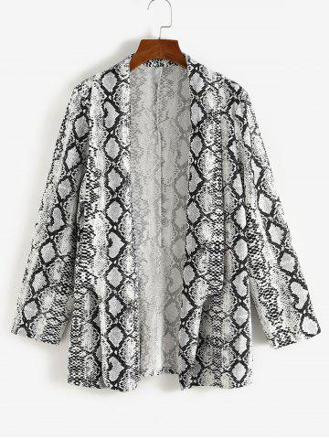 Plus Size Snakeskin Padded Shoulder Shawl Collar Blazer