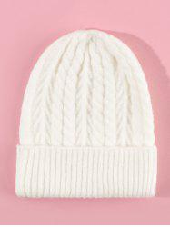 Twist Solid Turn Up Edge Knitted Hat -