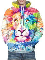 Paint Splatter Lion Print Front Pocket Drawstring Hoodie -
