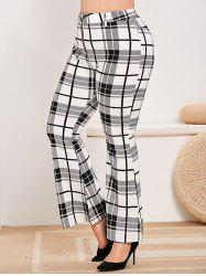 Plus Size Plaid Zip Fly Bell Bottom Pants -