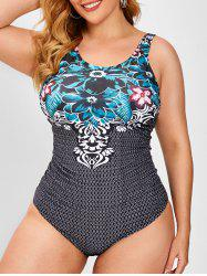 Plus Size Floral Leaf Mix Ruched Front One-piece Swimsuit -
