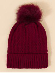 Braid Faux Fur Knitted Bubble Hat -