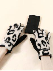 Buckle Leopard Screen Touching Fluffy Gloves -