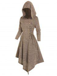 Lace Up Mock Button Hooded Asymmetrical Dress -