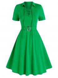 Lace-up Front Belted Casual Dress -