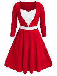 Plus Size Colorblock Velvet Flare Dress -