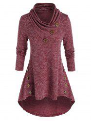 Plus Size High Low Shawl Collar Knitted T Shirt -