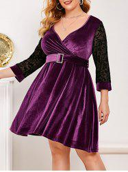 Mesh Panel Flocked Velvet Plus Size Surplice Dress -