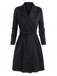 Tie Waist Lapel Solid Long Coat -