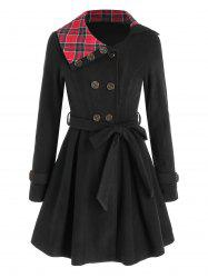 Plaid Crossover Double Breasted Skirted Coat -