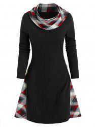 Plaid Insert Ribbed Convertible Sweater Dress -