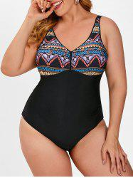 Plus Size Back Knot Ethnic Printed One-piece Swimsuit -