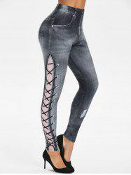High Rise 3D Lace Up Jean Print Jeggings -