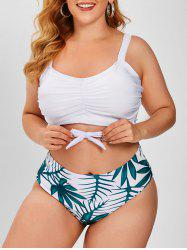 Tie Hem Ruched Leaves Print Plus Size Bikini Swimwear -