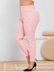 Plus Size Button Fly High Rise Colored Jeans -