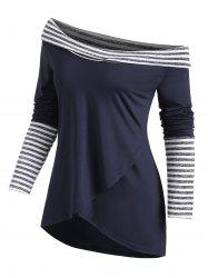 Stripes Panel Overlap Front Cowl Neck Tee -