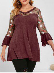 Flare Sleeve Mesh Panel Floral Embroidered Plus Size Top -