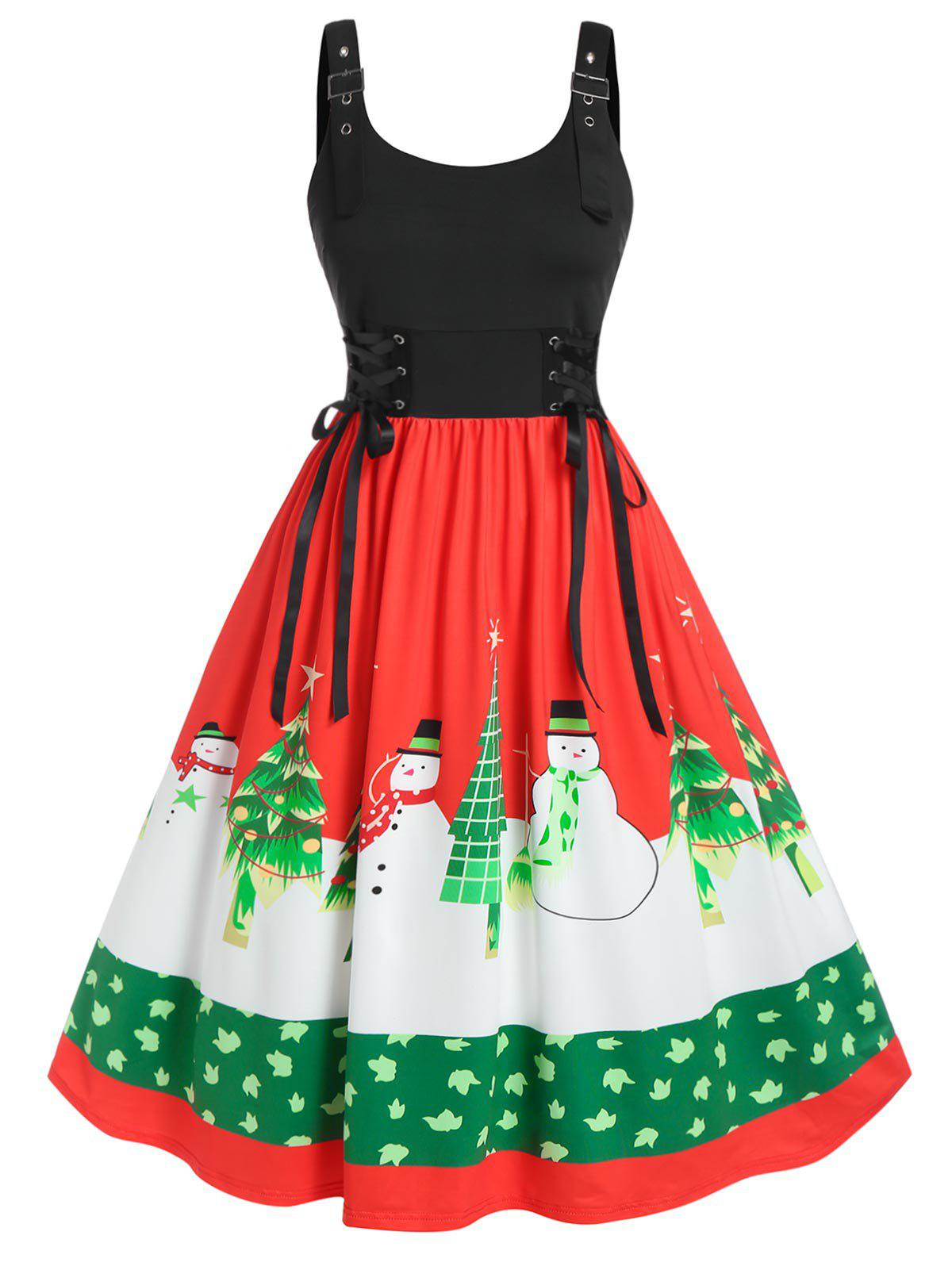 Outfit Plus Size Christmas Snowman Tree Lace-up Backless Midi Dress