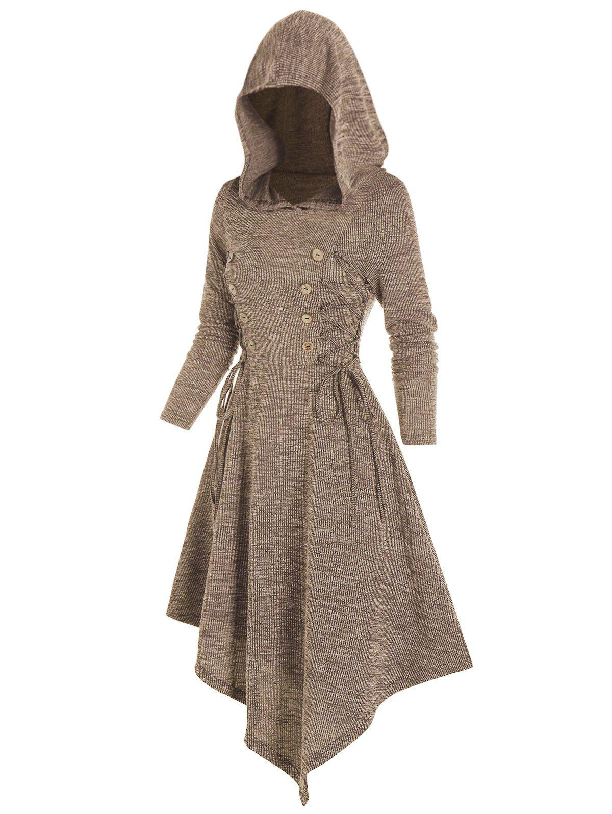 Trendy Lace Up Mock Button Hooded Asymmetrical Dress