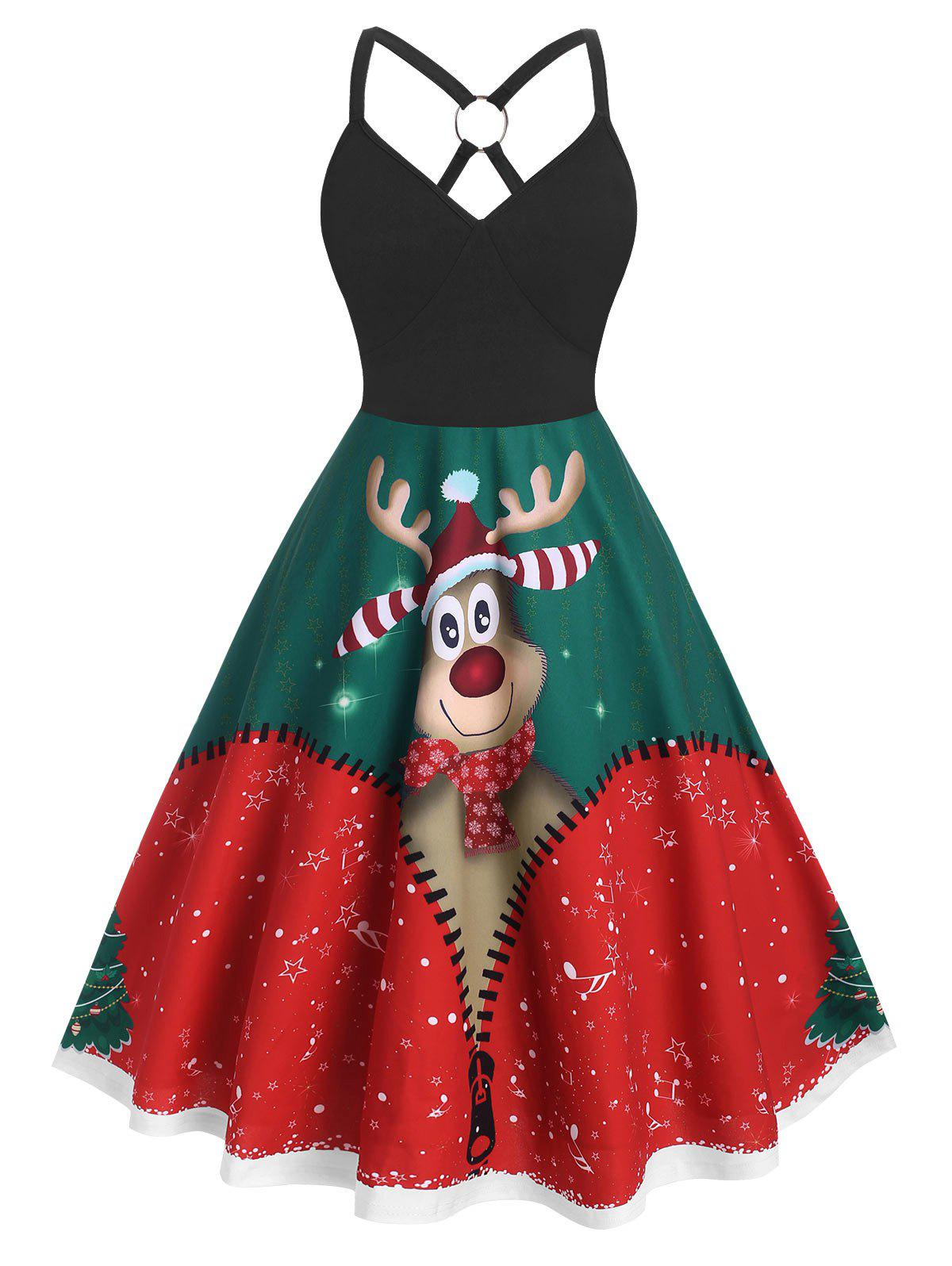 Outfit Plus Size Christmas O Ring Elk Print Dress