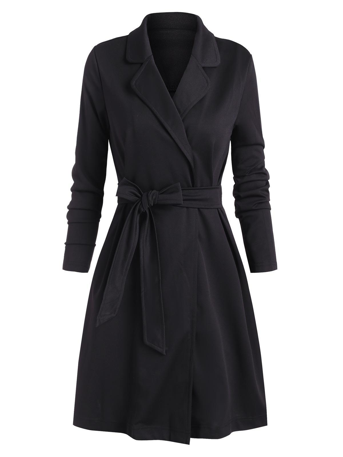 Shop Tie Waist Lapel Solid Long Coat