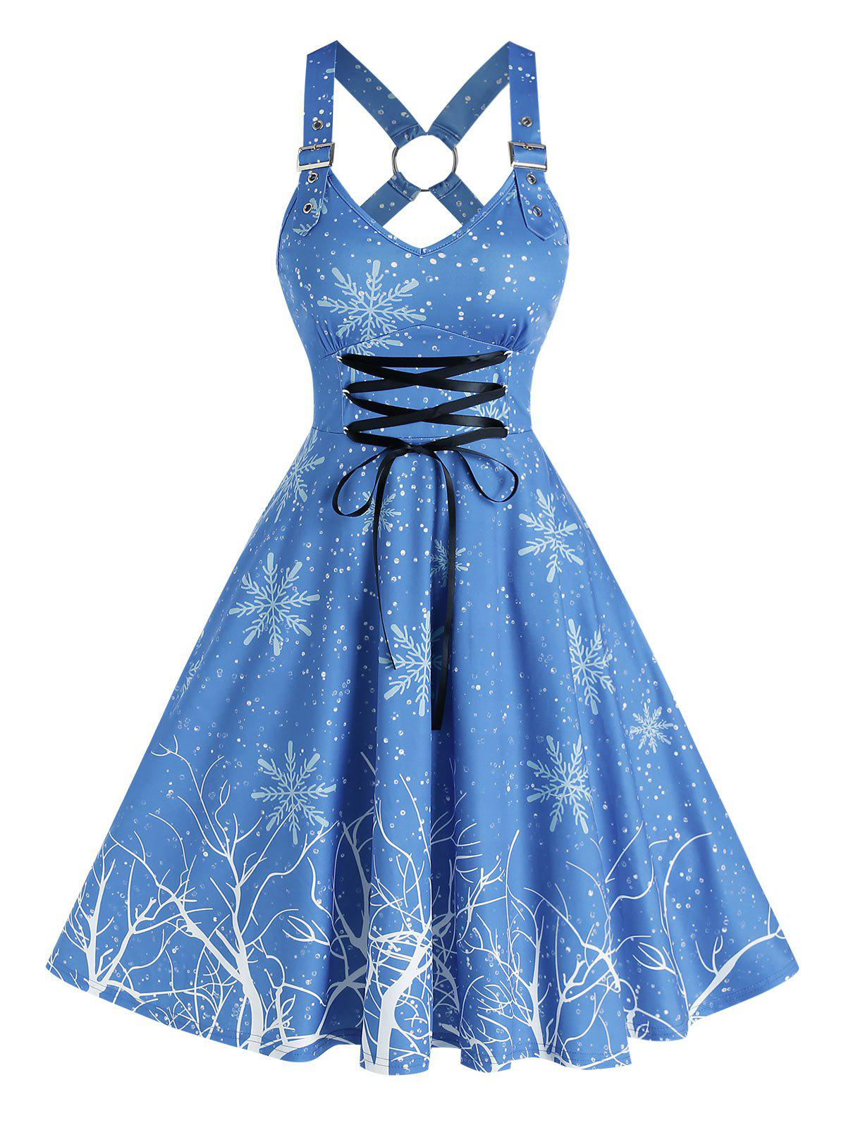 Discount Snowflake Printed Lace Up A Line Dress