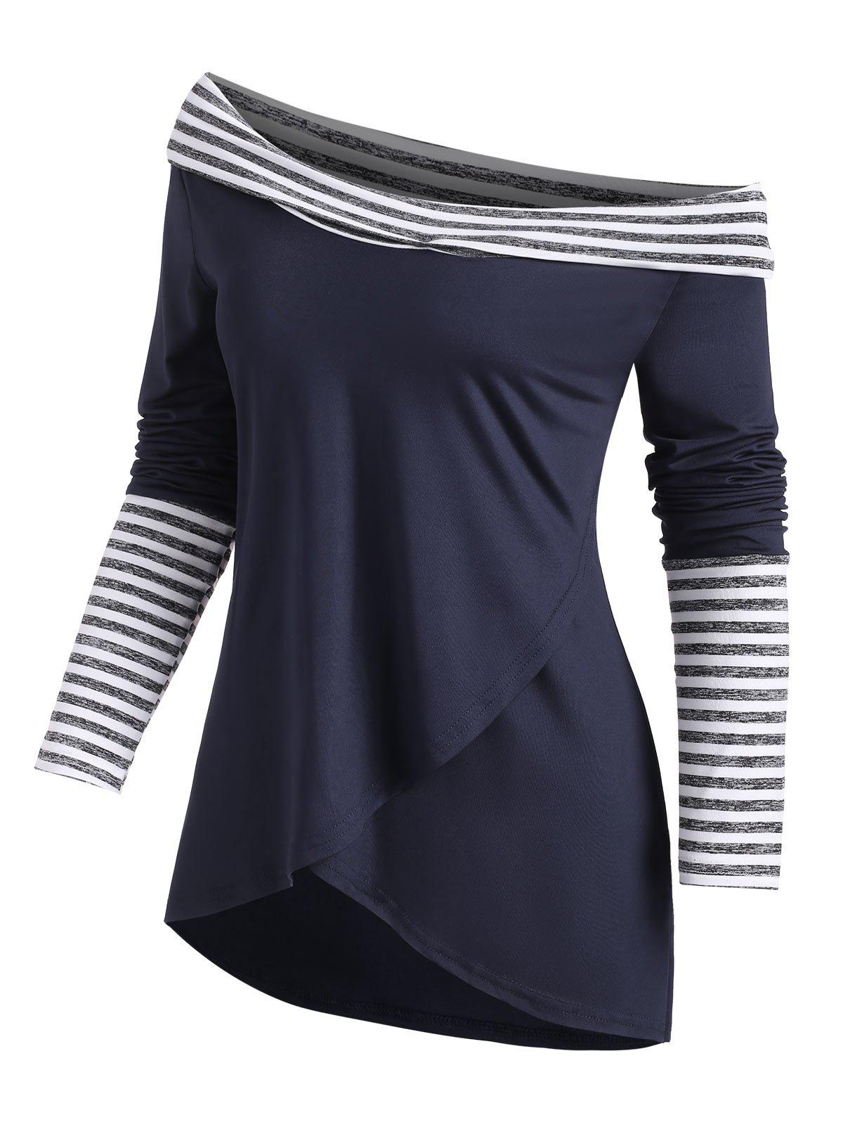 Store Stripes Panel Overlap Front Cowl Neck Tee
