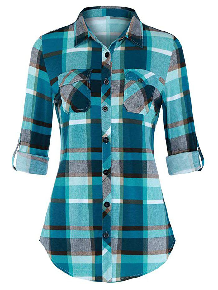 Trendy Plus Size Plaid Roll Up Sleeve Shirt