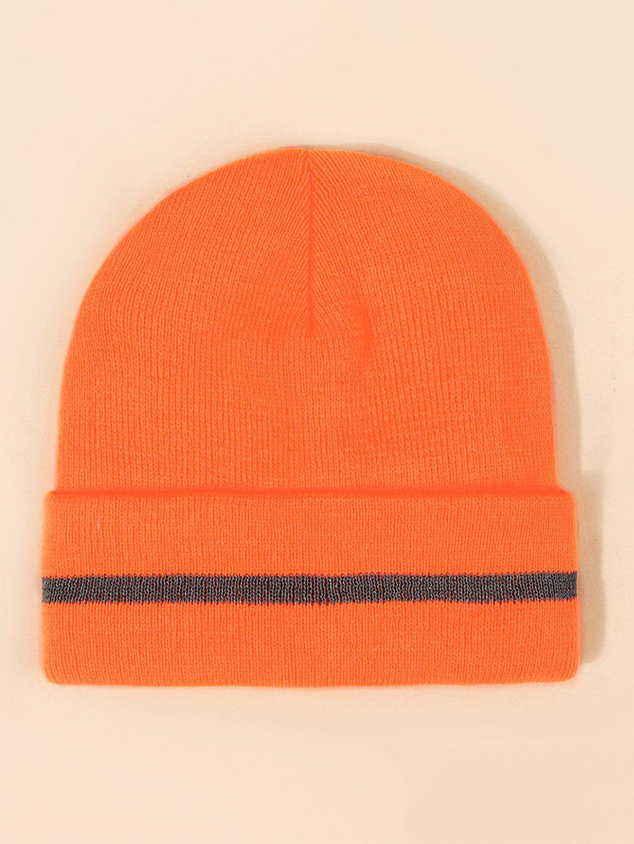 Hot Reflective Stripe Turn Up Edge Knitted Hat