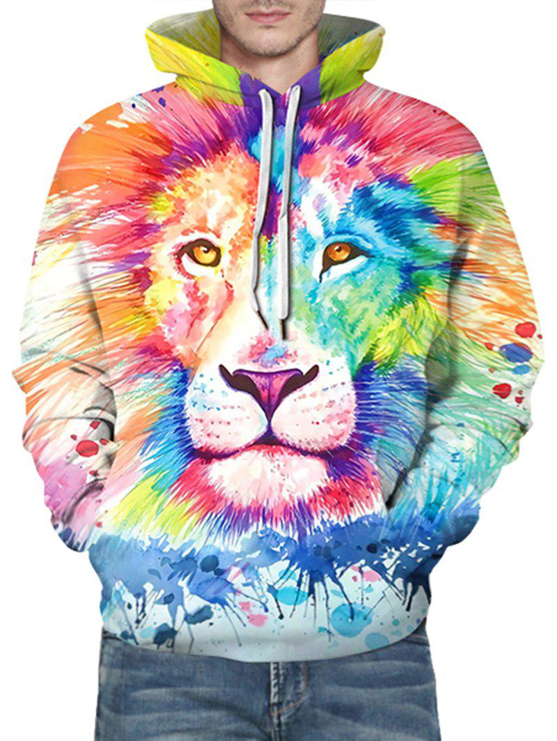 Latest Paint Splatter Lion Print Front Pocket Drawstring Hoodie