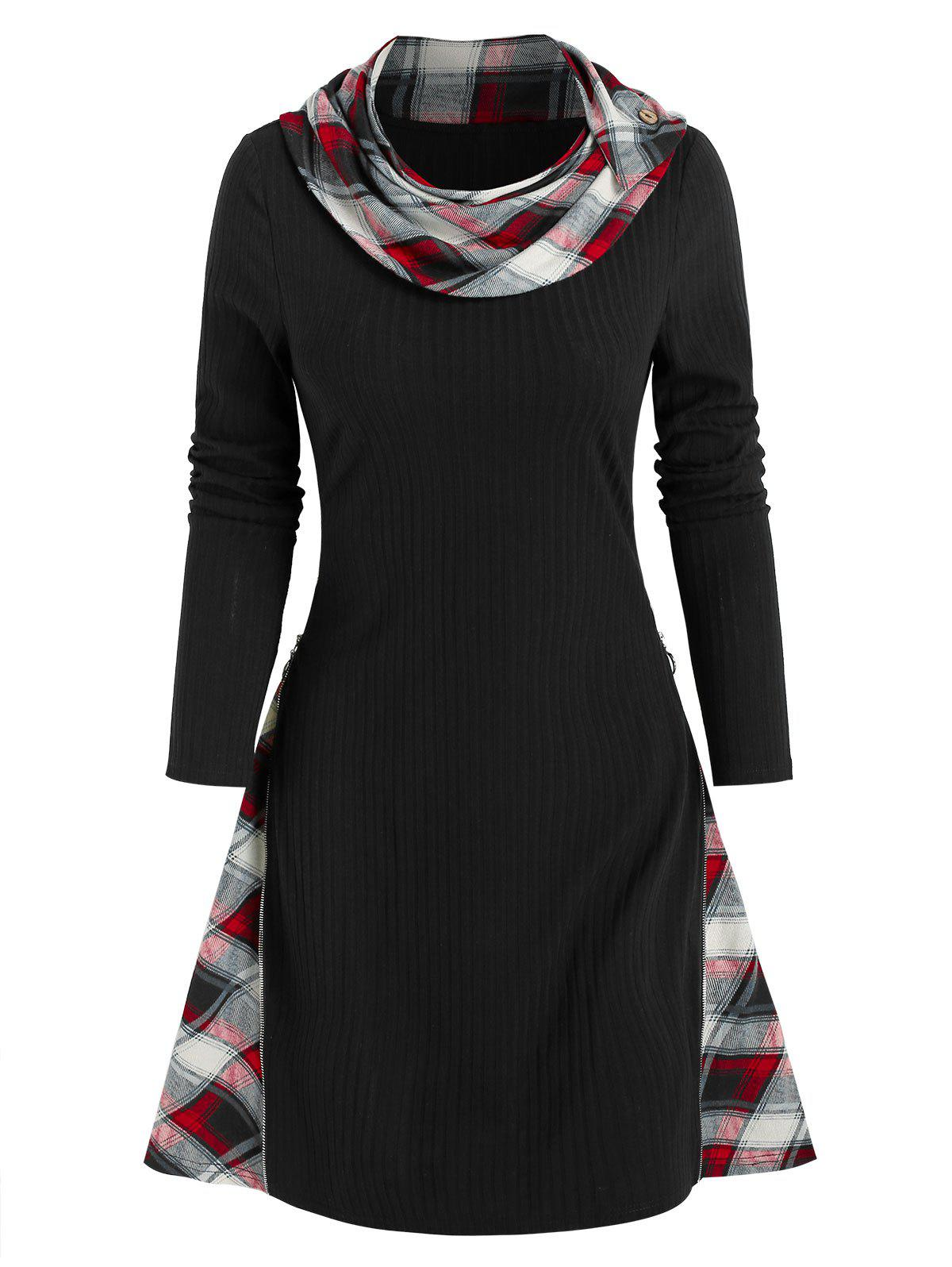 Affordable Plaid Insert Ribbed Convertible Sweater Dress